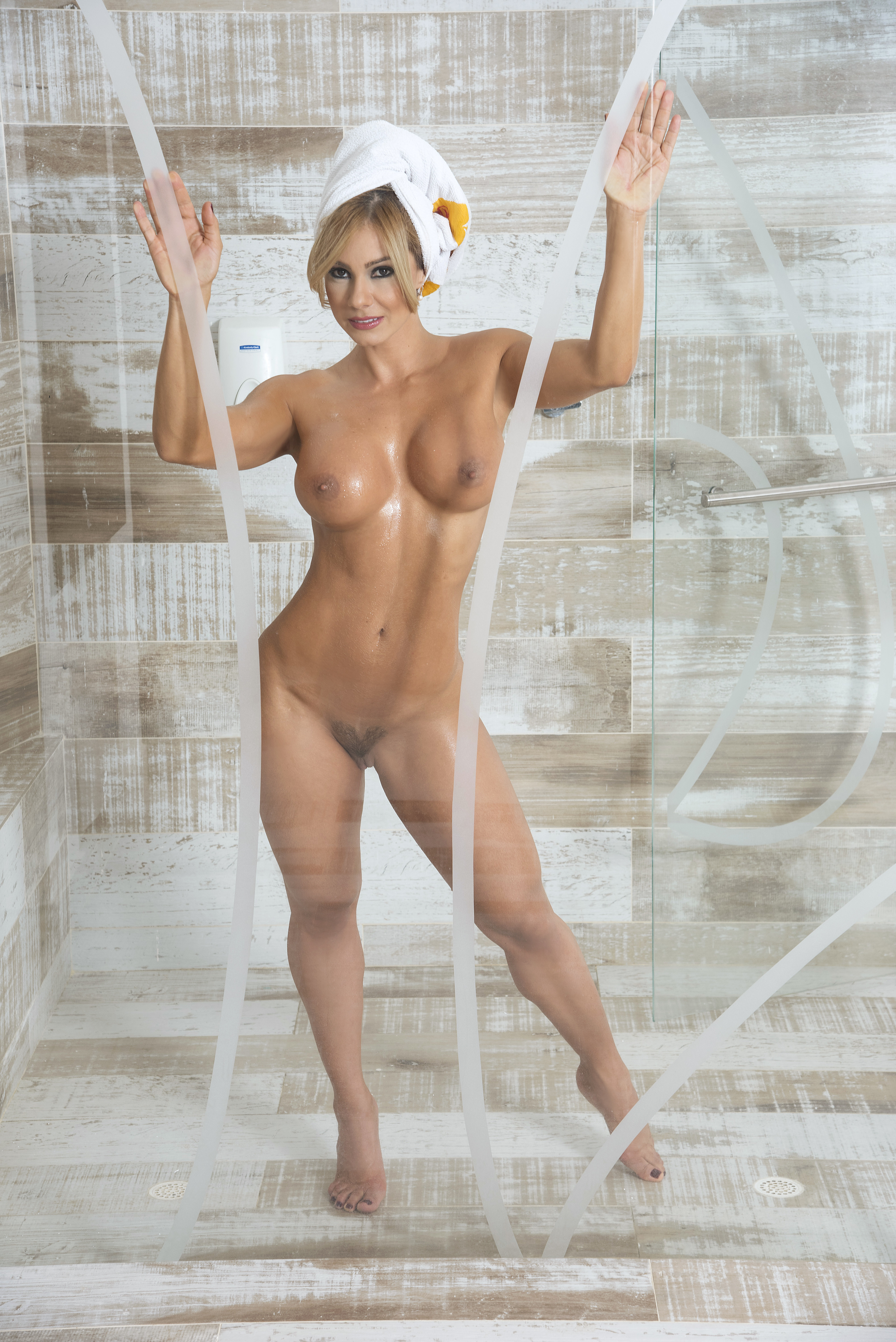 Nude babes in the shower